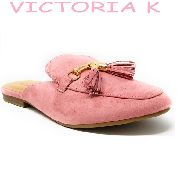 Victoria K Shoes - Women Suede Mules with Tassels, HK-7081, Pink